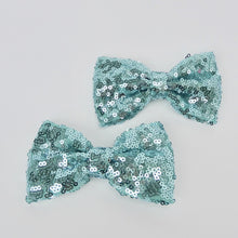 "Girls 4"" Large Bling Hair Bow Clip- Aqua Glitter"