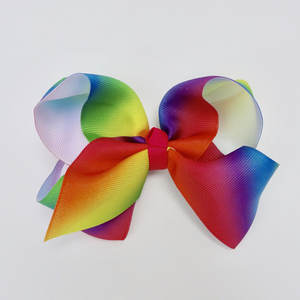 "Girls Rainbow 5"" Large Hair Bow Clip"