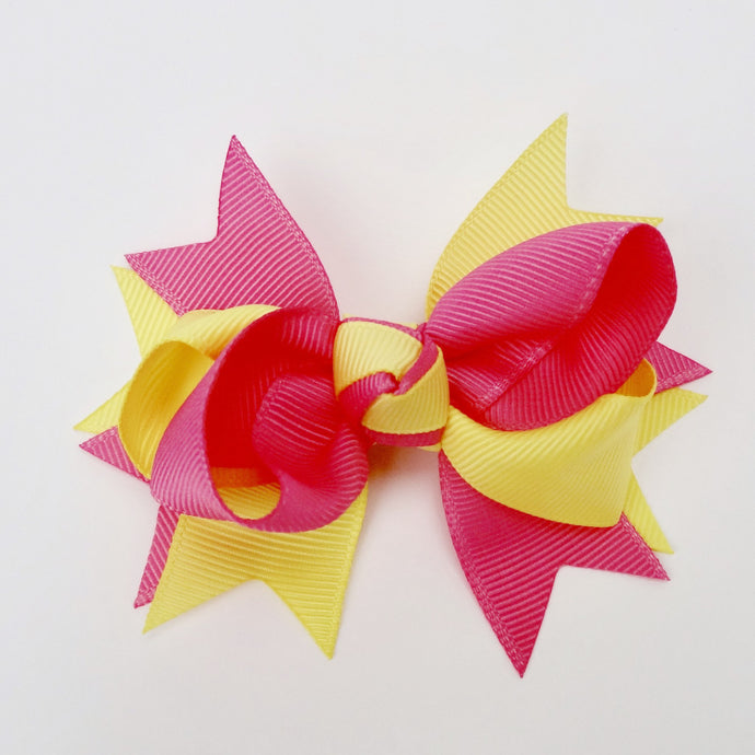 "Girls Yellow & Hot Pink 4"" Large Hair Bow Clip"