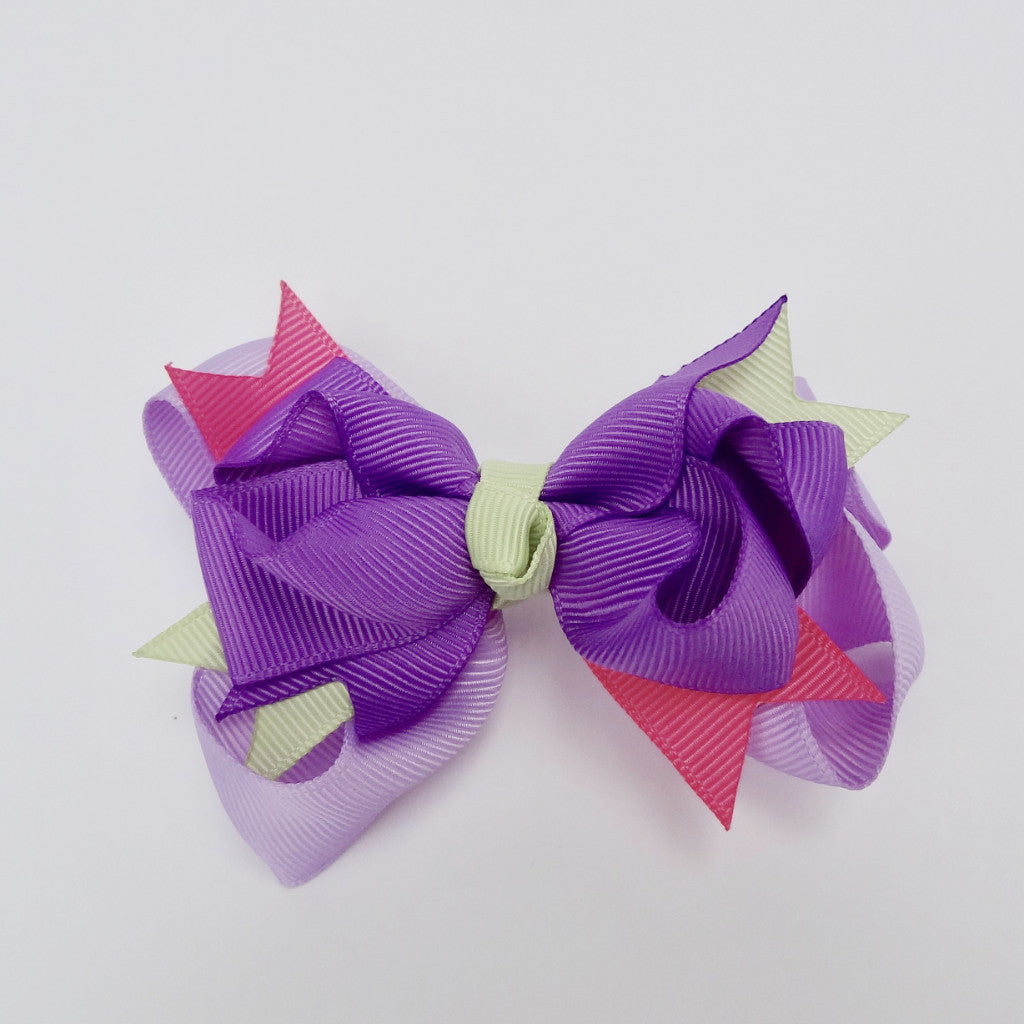 "Girls Purple/Green/Pink 4"" Large Hair Bow Clip"