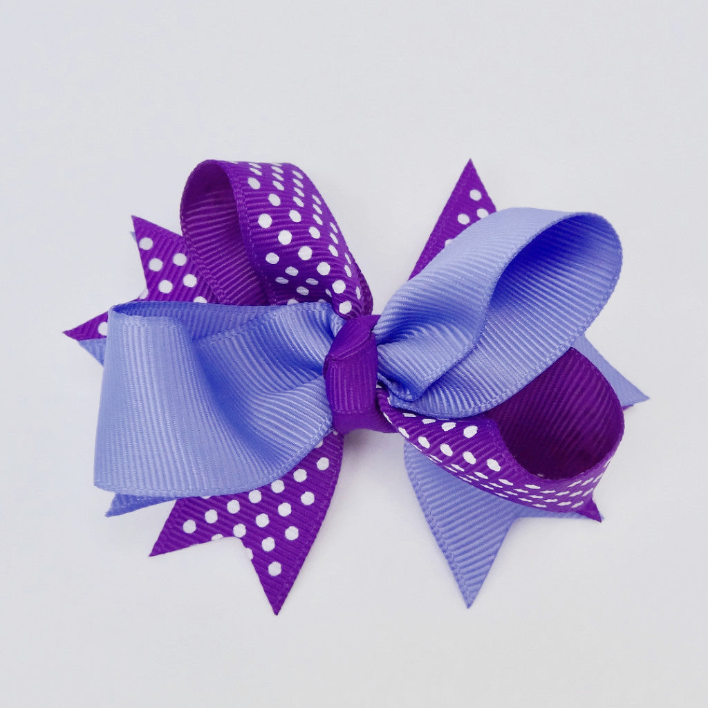 "Girls Purple/White Dot 4"" Large Hair Bow Clip"