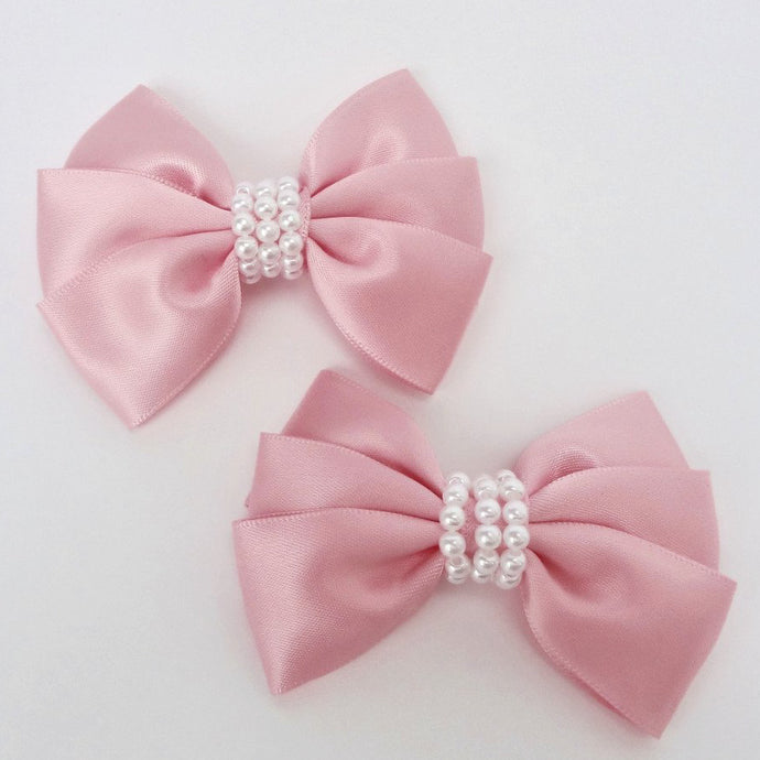 "Girls Set of 2 Satin Hair Bow Clips 3"" Long- Baby Pink"