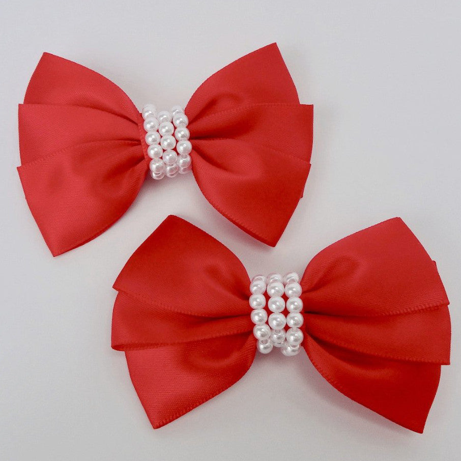 "Girls Set of 2 Red Satin Hair Bow Clips 3"" Long"