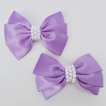 "Girls Set of 2 Satin Hair Bow Clips 3"" Long- Purple"