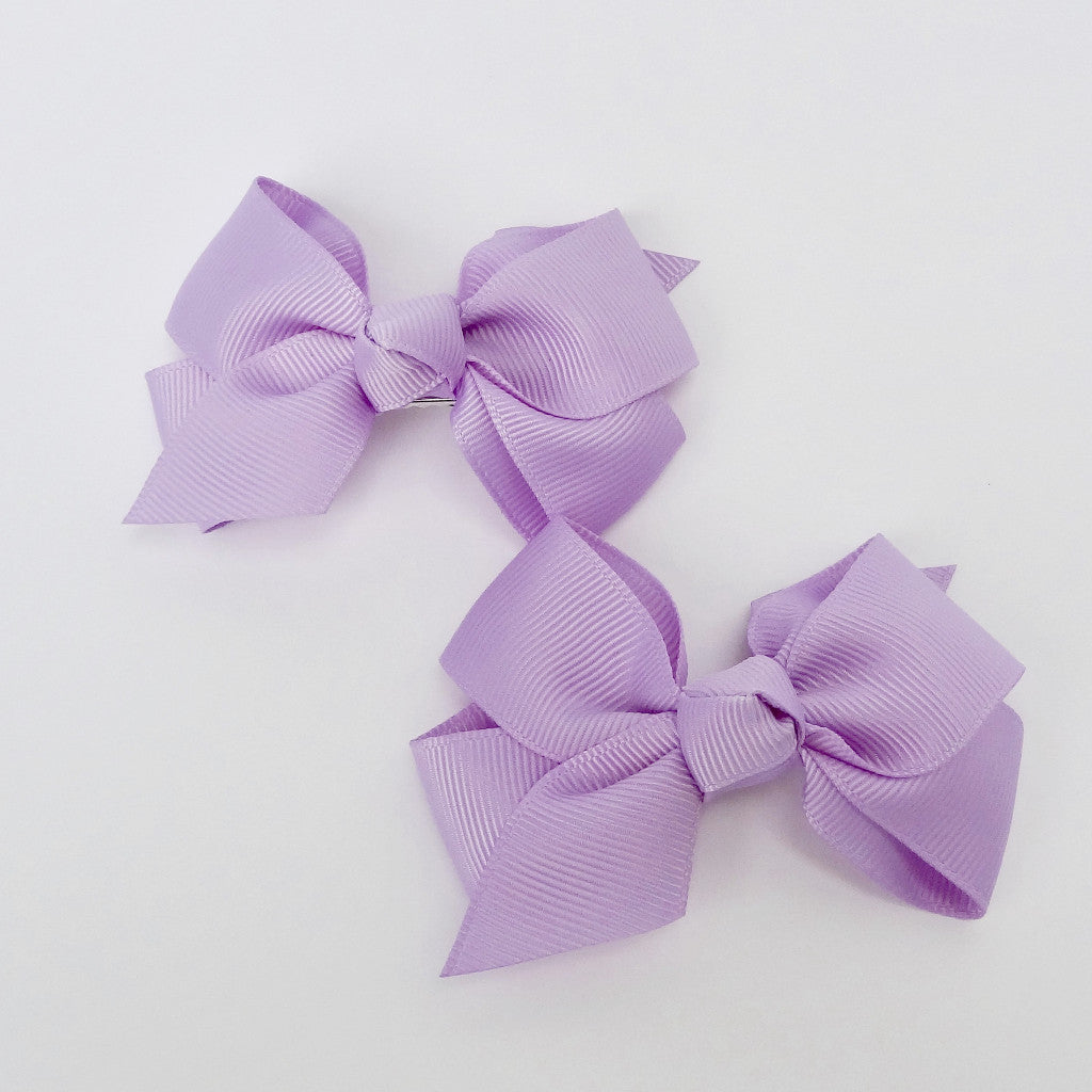 "Girls Set of 2 Cross Grain Ribbon Hair Bow Clips 3.7"" Long- Purple"