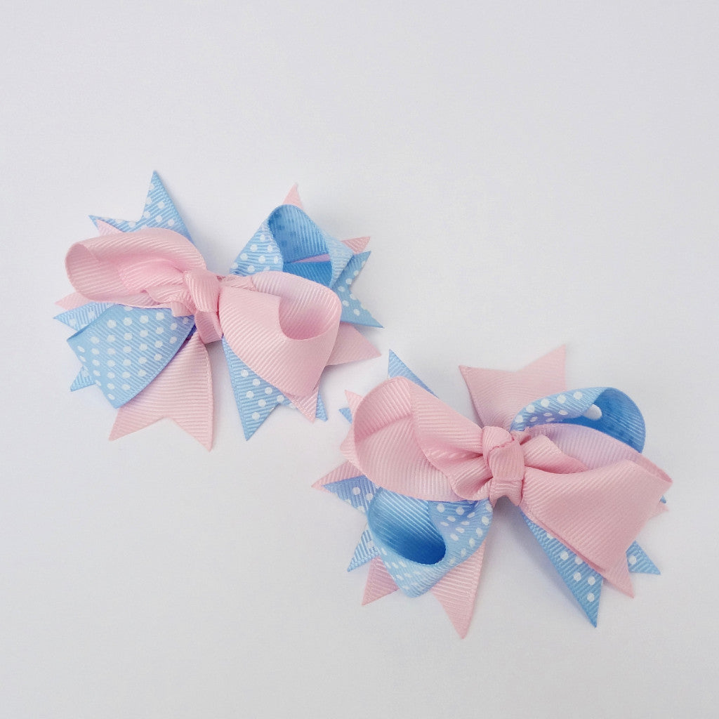 "Girls Light Pink/Blue Dot 3,5"" Large Hair Bow Clip"