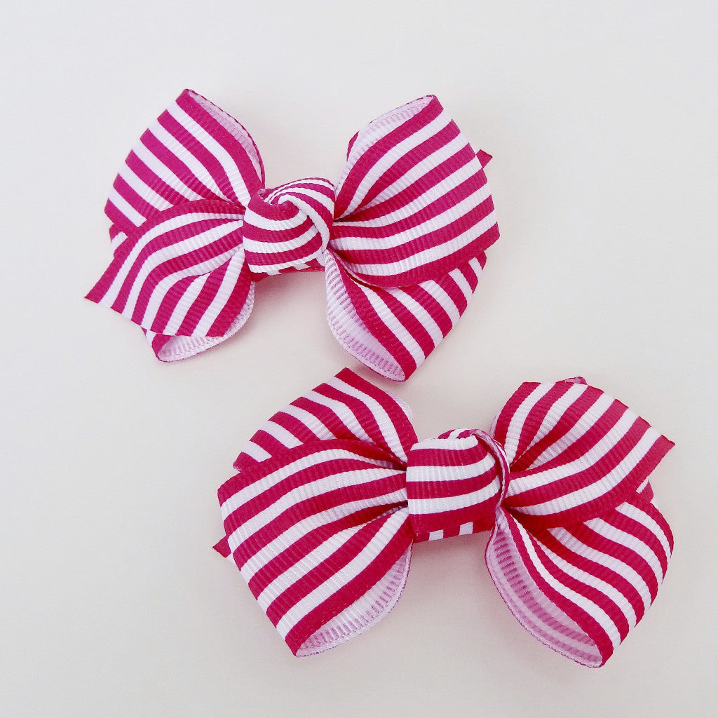 "Baby Girls Pink Striped Cross Grain Ribbon Hair Bow Clips 2.8""Long- Set of 2"