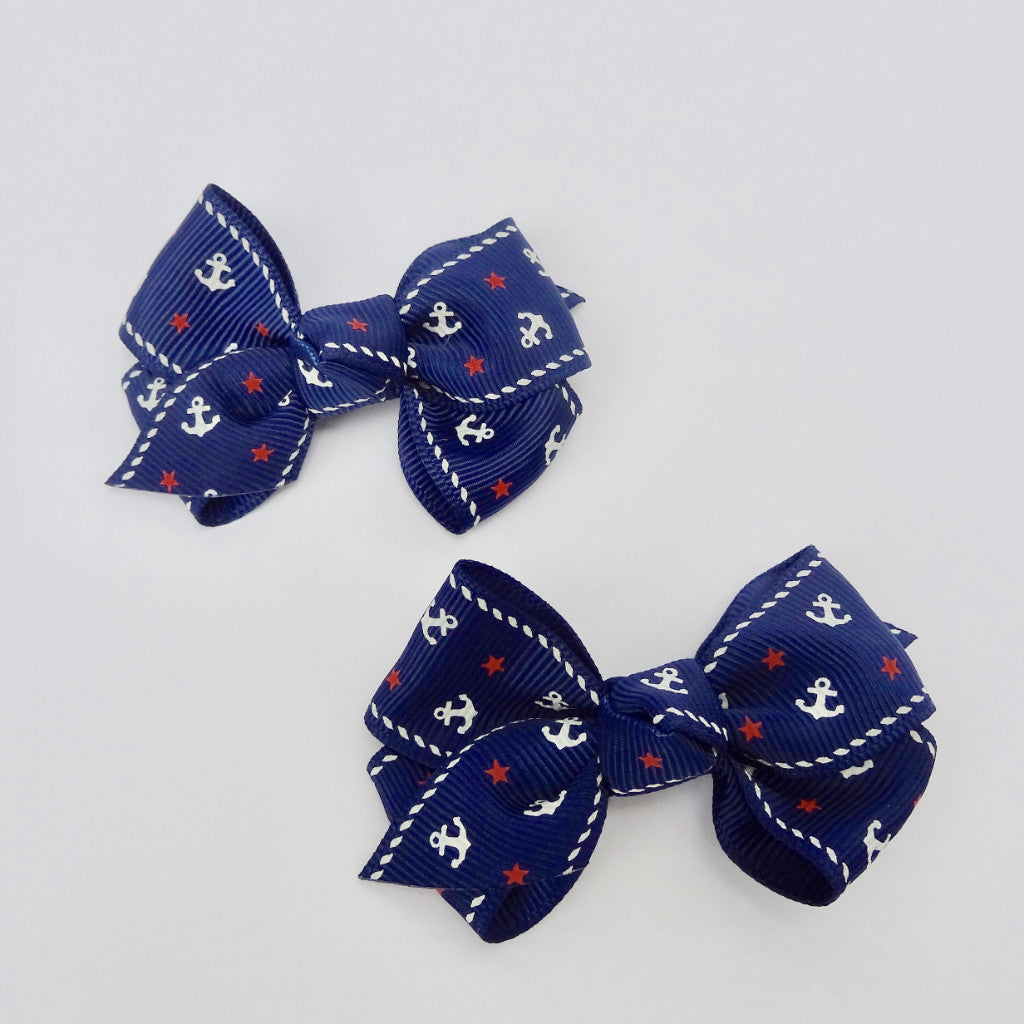 Baby Girls Set of 2 Cross Grain Ribbon Hair Bow Clips 2.8