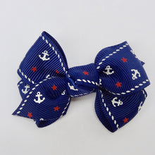 "Baby Girls Set of 2 Cross Grain Ribbon Hair Bow Clips 2.8""Long- Navy Anchor"