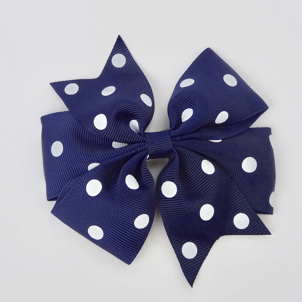 "Girls 4 1/4"" Large Hair Bow Clip - Navy with Dots"