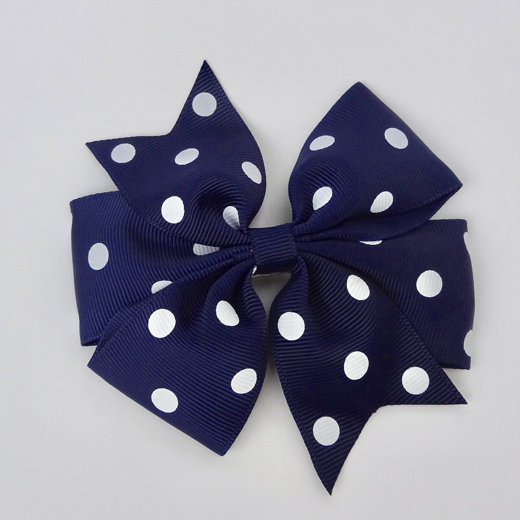 "Copy of Girls 4"" Hair Bow Clip - Navy with Dots"