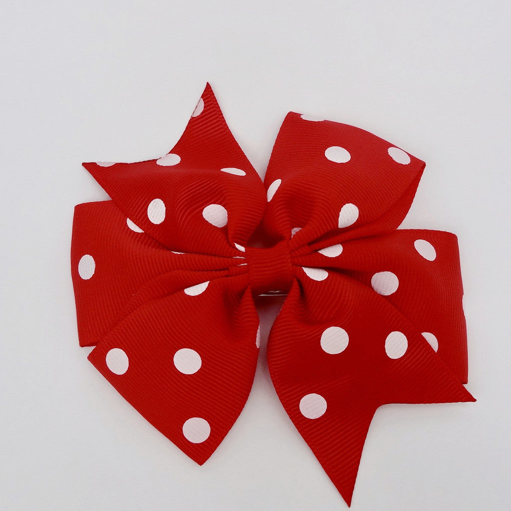 "Girls 4 1/4"" Hair Bow Clip - Red with Dots"