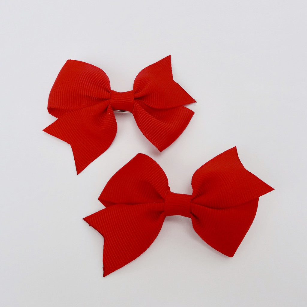"Girls Set of 2 Cross Grain Ribbon Hair Bow Clips 2.8"" Long- Red"