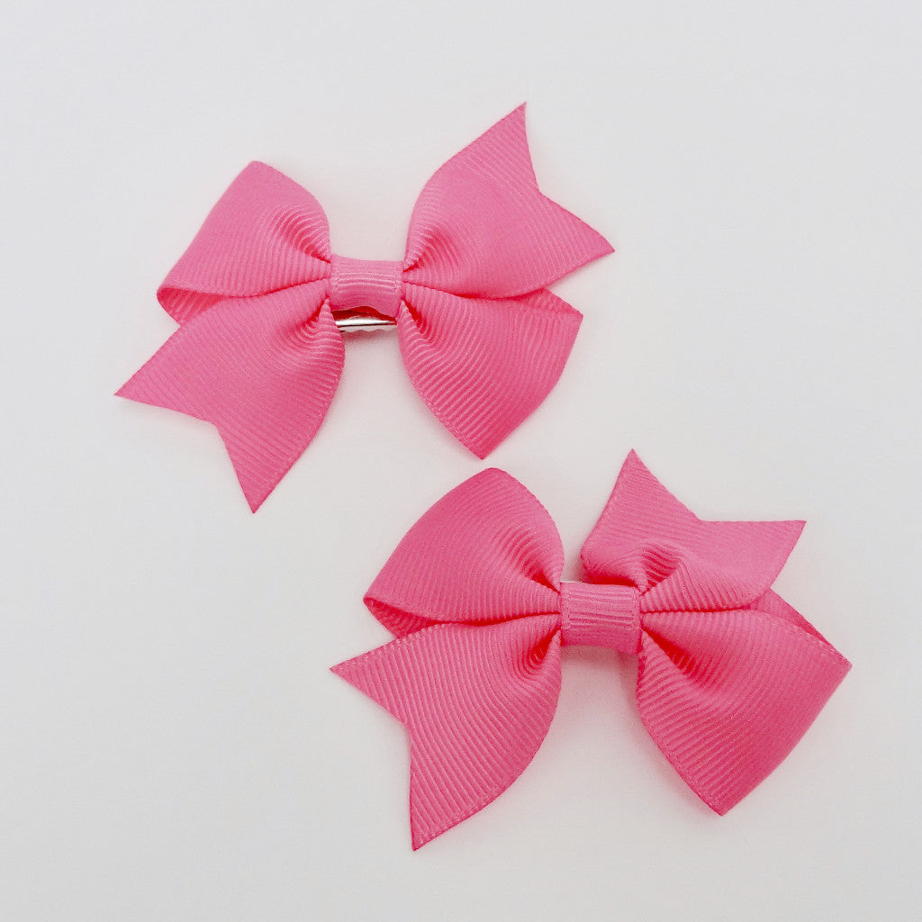 "Girls Set of 2 Cross Grain Ribbon Hair Bow Clips 2.8"" Long- Watermelon"