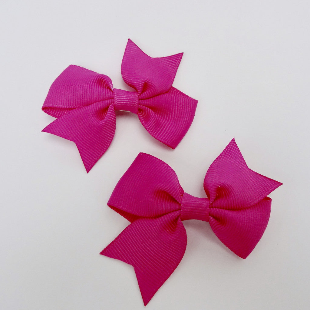 "Girls Set of 2 Cross Grain Ribbon Hair Bow Clips 2.8"" Long- Magenta"