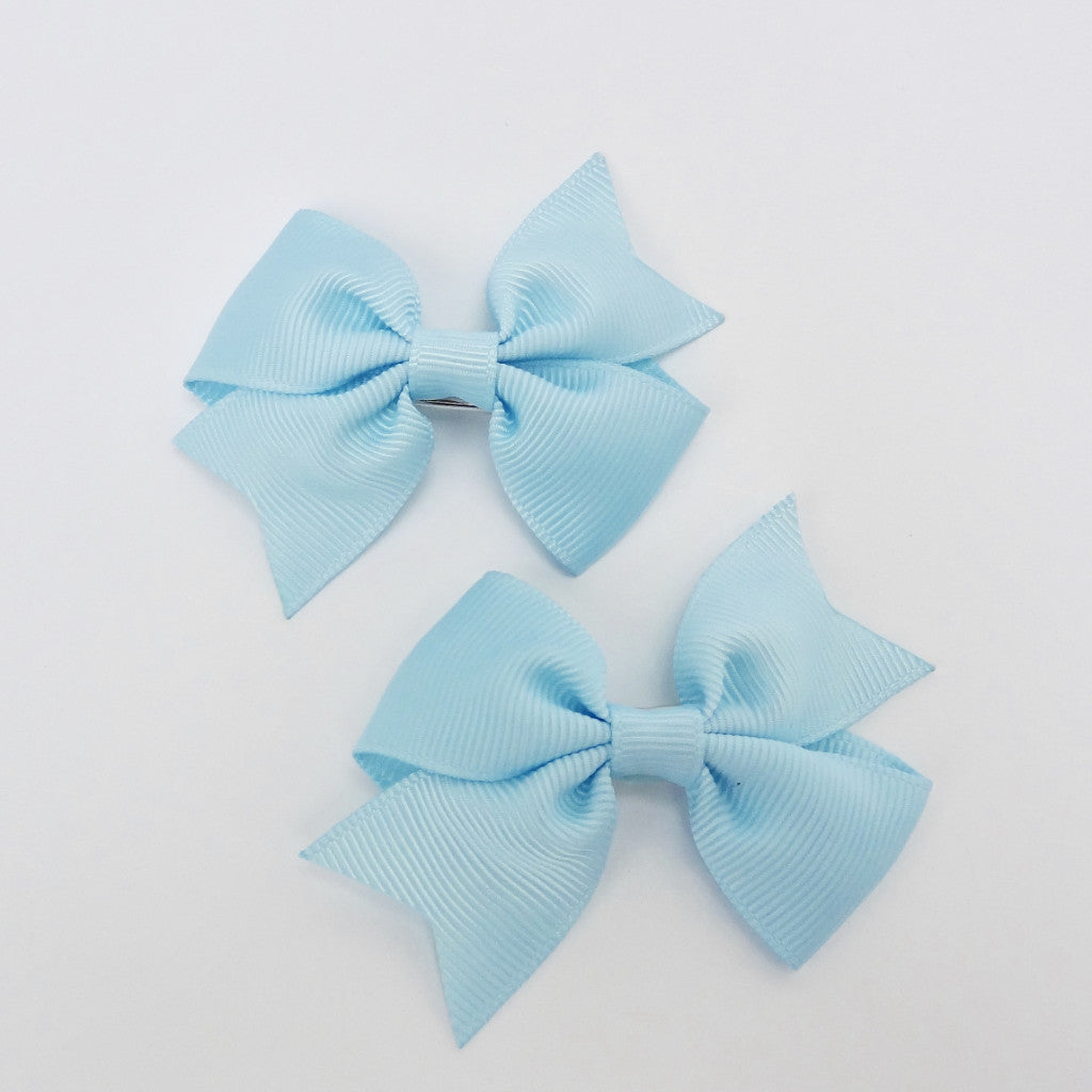 "Girls Set of 2 Cross Grain Ribbon Hair Bow Clips 2.8"" Long- Baby Blue"