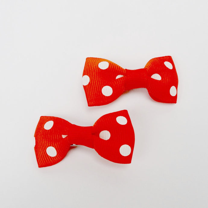 "Girls Set of 2 Small Cross Grain Ribbon Hair Bow Clips 1.75""- Orange with Dots"