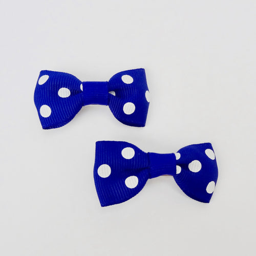 "Set of 2 Small Cross Grain Ribbon Hair Bow Clips 1.75"" for Girls- Royal Blue with Dots"