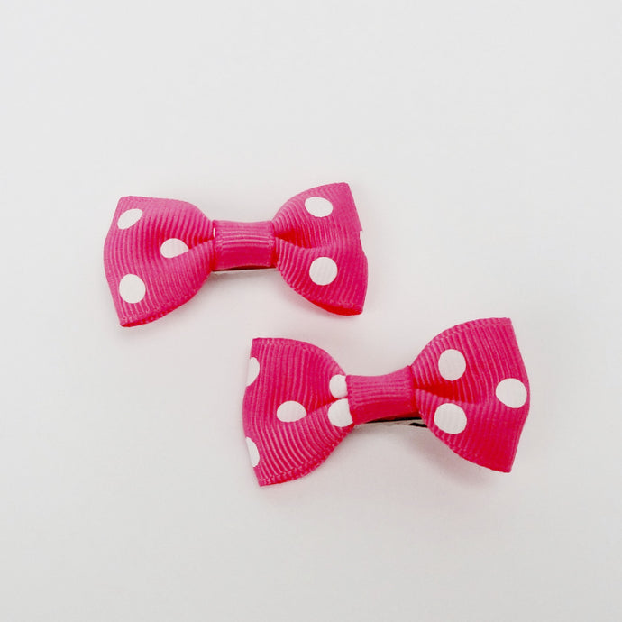 "Girls Set of 2 Small Cross Grain Ribbon Hair Bow Clips 1.75""- Watermelon with Dots"