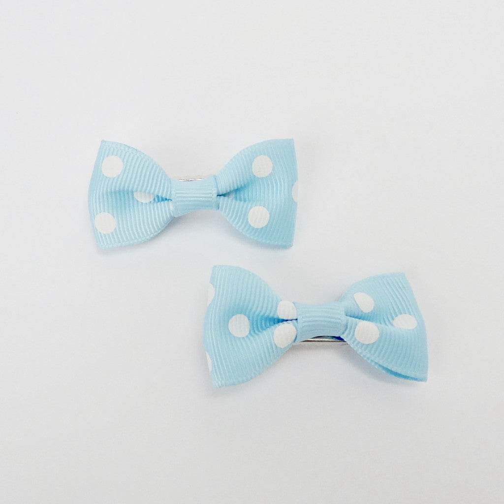 "Girls Set of 2 Small Cross Grain Ribbon Hair Bow Clips 1.75""- Baby Blue with Dots"