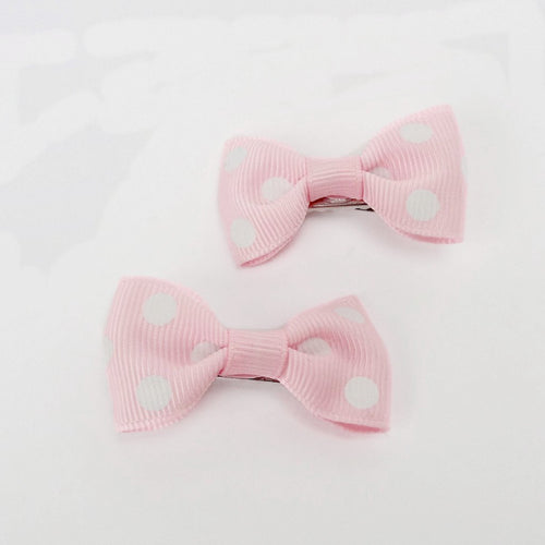 "Girls Set of 2 Small Cross Grain Ribbon Hair Bow Clips 1.75""- Pink with Dots"