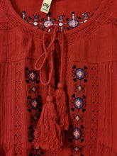 Rusty Red Embroidered Tassel Tunic Top with Crochet Lace Detail