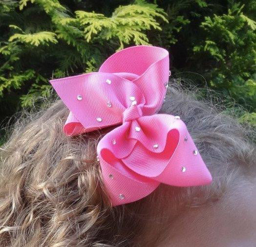 "Girls Pink Rhinestone 4.5"" Large Hair Bow Clip"
