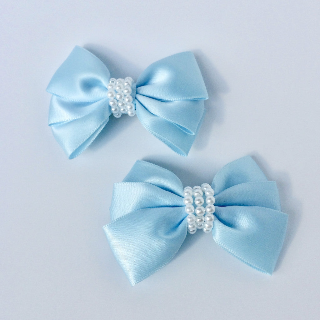 "Girls Set of 2 Baby Blue Satin Hair Bow Clips 3"" Long"