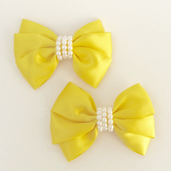 "Girls Set of 2 Yellow Satin Hair Bow Clips 3"" Long"