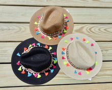 Black Multicolor Tassel Knitted Straw Beach Sun Hat
