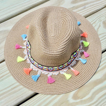 Light Brown Multicolor Tassel Knitted Straw Beach Sun Hat