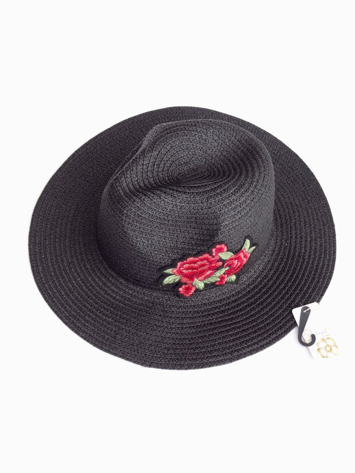 Black Straw Knitted Floral Detail Beach Sun Summer Hat