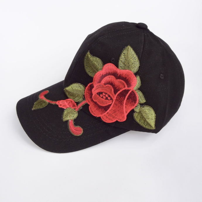 Black Floral Embroidered Trucker Hat