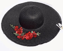 Black Straw Knitted Floral Detail Beach Sun Floppy Hat