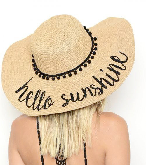 Beige 'Hello Sunshine' Embroidered Floppy Sun Straw Hat
