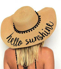 Black 'Hello Sunshine' Embroidered Floppy Sun Straw Hat