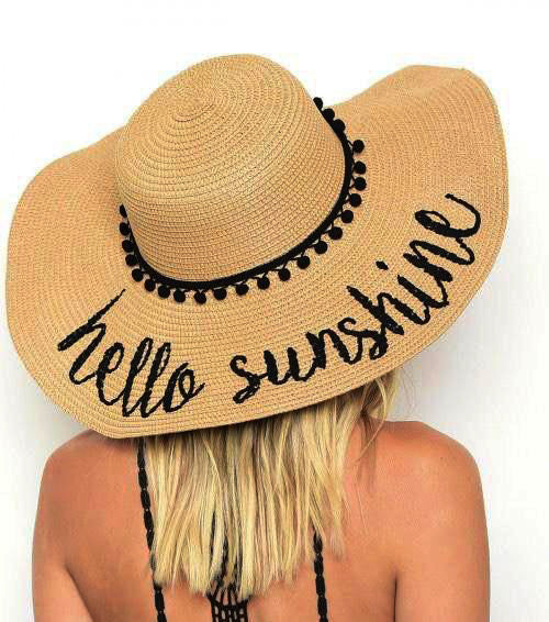 Light Brown 'Hello Sunshine' Embroidered Floppy Sun Straw Hat