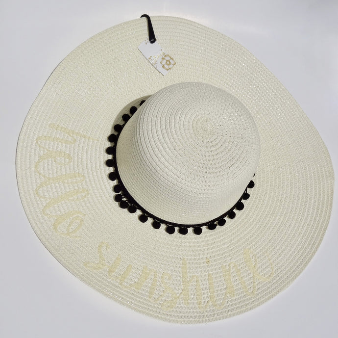 Ivory 'Hello Sunshine' Embroidered Floppy Sun Straw Hat
