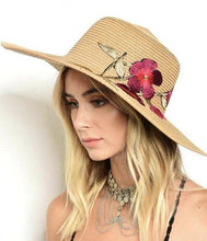 Light Brown Embroidered Floral Detail Beach Sun Straw Hat