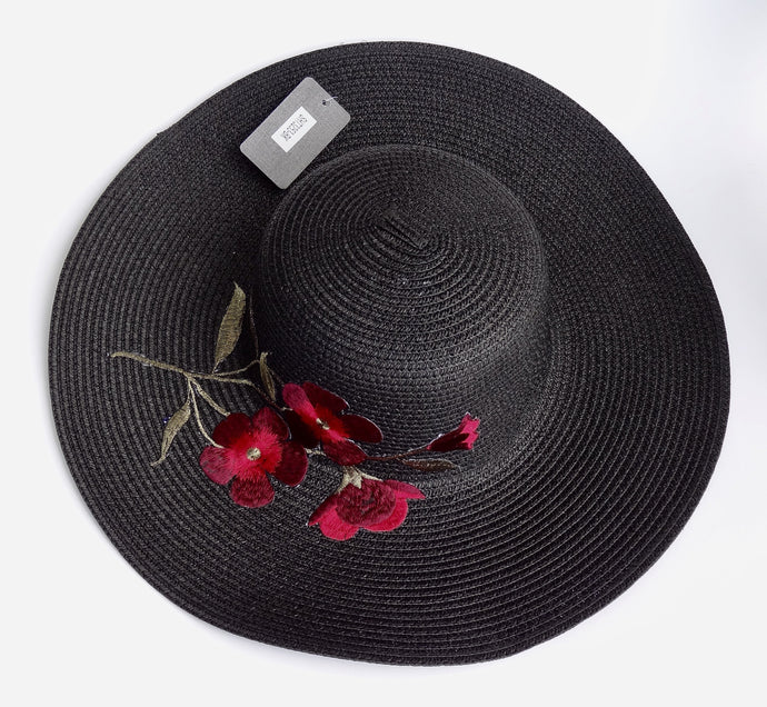 Black Embroidered Floral Detail Beach Sun Straw Hat