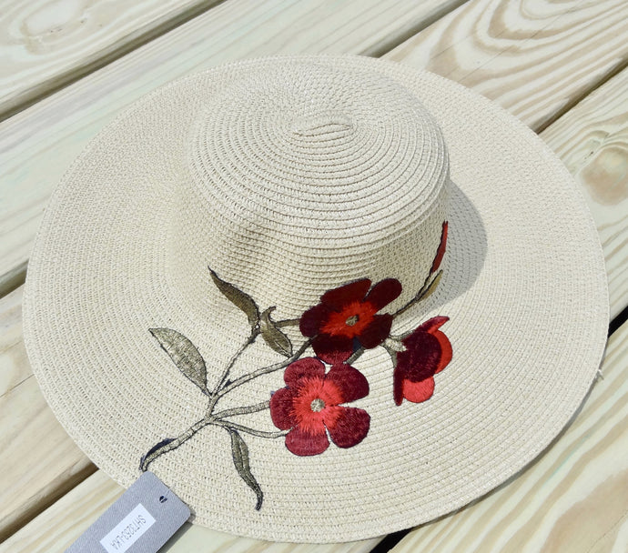 Ivory Embroidered Floral Detail Beach Sun Straw Hat