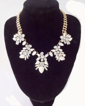 Ivory Crystal Gold Tone Flower Necklace
