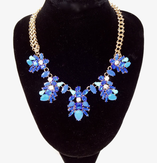 Blue Rhinestone Flower Choker Necklace