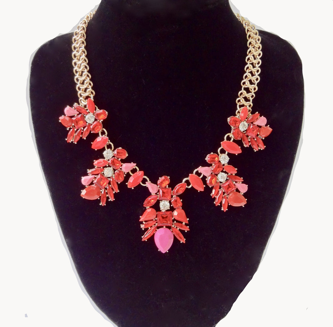 Red Rhinestone Flower Choker Necklace