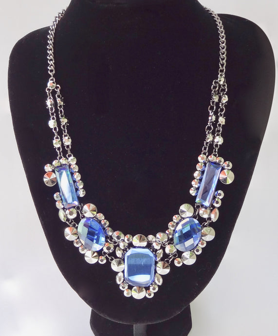 Blue and Silver Immitation Gemstone Necklace