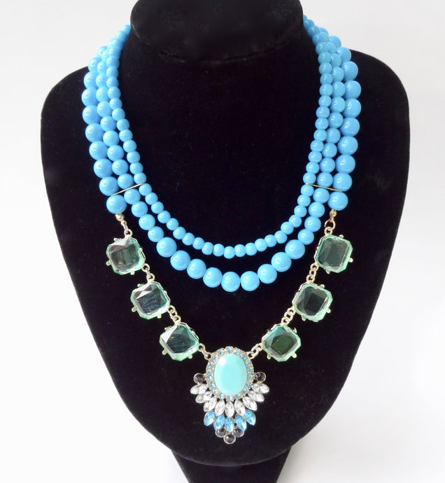 Turquoise Gemstone Beads Collar Statement Necklace