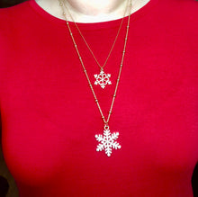 Double Snowflake Rhinestone Pendant and Chain Necklace Jewelry Gift in Gold