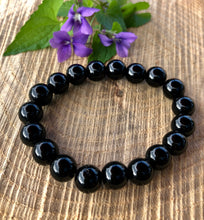 Black Onyx Natural Stone Polished Round Beads Elastic Bracelet