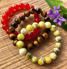 Tiger Eye Natural Stone Polished Round Beads Elastic Bracelet