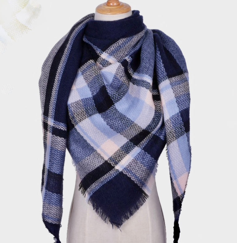 Fall Winter Plaid Acrylic Triangle Scarf - Navy with Light Blue